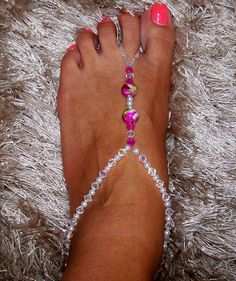 Toe Thong Foot Thong Barefoot Sandals Beach Wedding Feet Jewelry Anklet via Etsy