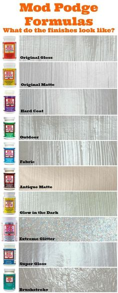 Mod Podge formulas - what do the finishes look like? Use this handy guide! This is great when trying to decide what to use for your projects. #modpodge #finish #decoupage