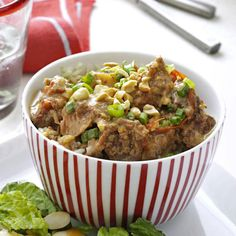 Satay-Style Pork Stew Recipe -Thai cuisine features flavors that are hot and sour, salty and sweet. This one-dish pork satay balances all of them using ginger and red pepper flakes, rice vinegar, garlic, lime juice and creamy peanut butter. —Nicole Werner, Ann Arbor, Michigan