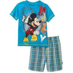 **FAST TRACK**Disney Baby Boy's Mickey Blue Tee and Plaid Short Set