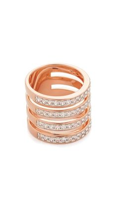4 connected, cubic zirconia-studded bands lend a stacked effect to this Bronzallure ring.
