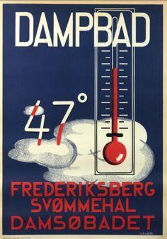 Dampbad, Frederiksberg svømmehal. E.B.Smith.  #plakat #poster #vintage #plakatgalleridk
