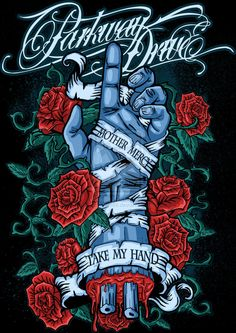 mother mercy take my hand. Love this as a tat. One of my favorite bands and lyrics that I relate to. Music Artwork, Metal Artwork, Dan Mumford, Parkway Drive, Heavy Metal Art, Band Wallpapers, Band Quotes, Metal Albums, Band Posters