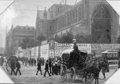The construction of Paul's Cathedral at the corner of Flinders Lane and Swanston St,Melbourne in 1889.