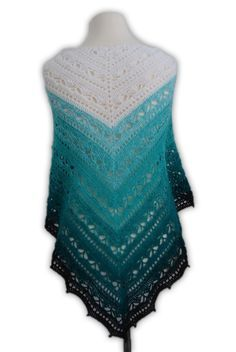 This shawl can be worked as big as youo want. The pattern is easy to repeat. The pattern is written and includes a chart. You can work the shawl with every yarn you like. In my example i used with hook size Yarn = Wolle Kunterbunt mit Herz Plea Crochet Shawls And Wraps, Crochet Scarves, Crochet Clothes, Poncho Knitting Patterns, Afghan Crochet Patterns, Crochet For Boys, Diy Crochet, Triangle Scarf, Crochet Fashion