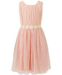 Speechless Little Girls' Chiffon Flower-Waistband Dress