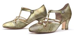 """""""Cicero"""" 1920s Flapper Shoes in Citrine Gold - Exclusive by American Duchess"""