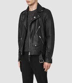 Mens Volt Leather Biker Jacket (Black) - product_image_alt_text_4