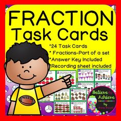 Fraction Task Cards- Parts of a SetThis colorful set of 24 task cards with fraction questions with pictures representing parts of a set is a wonderful addition to your lessons! I've included a recording sheet and answer key, too!*********************************************************************These activities would work for third graders, high achieving second graders or fourth graders who could use some review!Here are some possible uses for these in your classroom:*early…