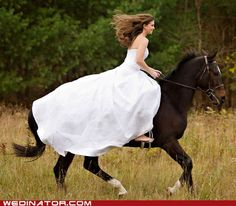 There's something magical about barefooted brides on horseback. And now I want a trash the dress like this.