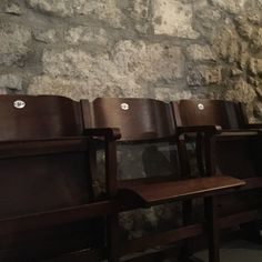 Antique wood theater seats