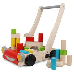 Plan Toy Baby Walker, adjustable handle, comes with a colored block set that fits perfectly in the storage