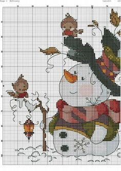 Snowman Cross Stitch Pattern, Xmas Cross Stitch, Cross Stitch Needles, Counted Cross Stitch Patterns, Cross Stitch Charts, Cross Stitch Designs, Cross Stitching, Cross Stitch Embroidery, Everything Cross Stitch