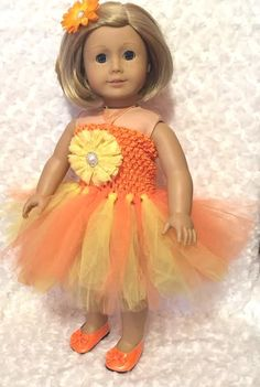 Yellow and Orange Tutu Dress for American Girl 18 inch and 15 inch dolls / Dress + Shoes + Hair Clip / Flower Girl Doll Dress / Girls Gift by mydollydreamboutique on Etsy