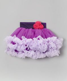 This Purple Rosette Ruffle Pettiskirt - Infant, Toddler & Girls by Tutus by Tutu AND Lulu is perfect! #zulilyfinds