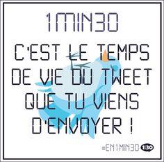 1min30 c'est le temps de vie du tweet que tu viens d'envoyer ! #En1min30