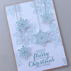 ***SOLD*** Snow Flurry Christmas Card #stamped #stampinup #cardclass #cardmaking #sydney #handmade #card #papercraft #snowflakes #rhinestones #silverthread #forsale #classes