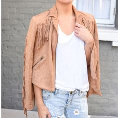 Tan Suede Fringe Jacket (vegan) Vegan Suede fringe jacket. Perfect for Coachella or any other festival! Pair with denim, a romper or over a dress! New with tags. Medium. Jackets & Coats Utility Jackets