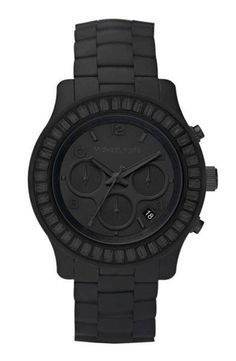Michael Kors matte black watch - I love anything this man does in watches! Outlet Michael Kors, Sac Michael Kors, Michael Kors Black, Michael Kors Watch, Michael Khors, St Michael, How To Have Style, My Style, Style Men