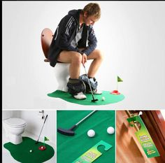 A kit to play golf in the bathroom........