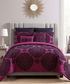 Plum Tayden Flocked Medallion Seven-Piece Comforter Set
