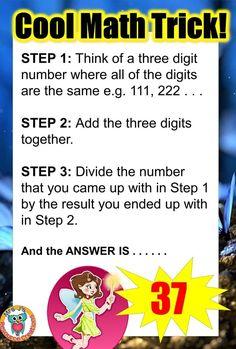 Math Trick where your answer will always be - Mathe Ideen 2020 Math Magic Tricks, Cool Math Tricks, Maths Tricks, Jokes And Riddles, Math Jokes, Kid Jokes, Math Humor, Funny Mind Tricks, Number Tricks