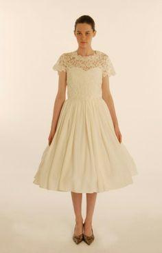 lace t shirt over strapless 50's dress- lookbook shot