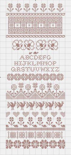 Spring Plantings sampler cross stitch alphabet band St Valentine