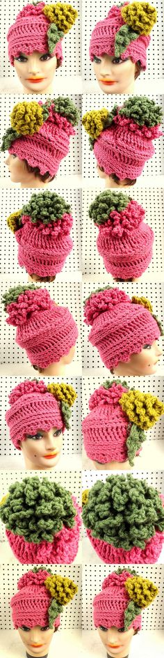 http://www.etsy.com/listing/58005171/crochet-hat-women-hat-felicia-womens?ref=shop_home_active_search_query=pink FELICIA Crochet Beanie Hat - Womens Crochet Pom Pom Hat Pink with Gold Flower by strawberrycouture $40.00