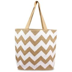 Cathy's Concepts Personalized Chevron Print Jute Tote (115 BRL) ❤ liked on Polyvore featuring bags, handbags, tote bags, monogrammed purses, white tote bag, monogram tote, print tote bags and chevron tote