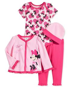 Nannette Baby Girls' 4-Pc. Minnie Mouse Hat, Jacket, Bodysuit & Leggings Set