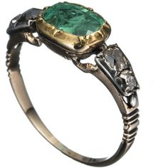 Alexis Bittar 1820's 14K Gold with Emerald and Rose Cut Diamond Ring ($2,800) ❤ liked on Polyvore