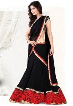 Black Faux Georgette Lehenga Choli with Dupatta: LCS35
