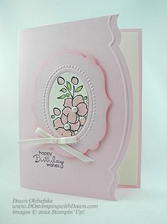 What a wonderfully lovely whisper pale pink card. #card #crafts #scrapbooking