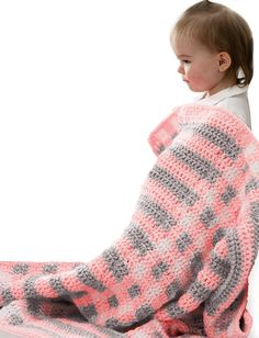 Make a lightweight crochet baby blanket in an adorable gingham pattern.