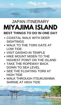 List of best things to do on Miyajima island in one day itinerary. Easy one day trip from Hiroshima. Backpacking Japan travel destinations itinerary trip planning tips. Japan Travel Guide, Asia Travel, Kerala Travel, Montana, 1 Day Trip, Hiroshima Japan, Miyajima, Travel Activities, Culture Travel