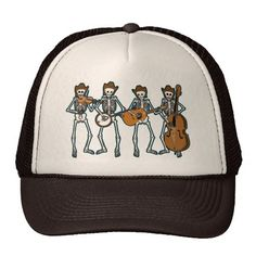 Country Music Playing Skeletons Hat http://www.zazzle.com/country_music_playing_skeletons_hat-148743573933152204?rf=238675983783752015