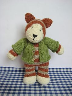 Miaow ... Knit a cute tabby tiger cat and a cosy cardigan with this fluff and fuzz toy knitting pattern