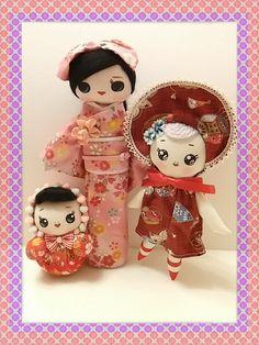 RESERVED Mini Bunka Doll Meko, Kimono Girl Chiyo and Lil bunka baby