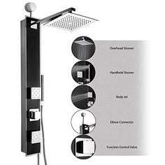 AKDY-35-Black-Tempered-Glass-Wall-Mount-Easy-Connection-Bathroom-Multi-Function-Shower-Tower-Panel-w-Rainfall-Head-Dual-Massage-Sprays