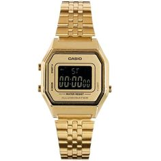 Casio LA680WEGA Mini Digital Gold Watch found on Polyvore