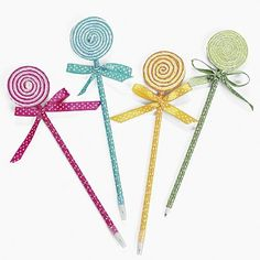 "Lollipop Pens (1 dz) by Fun Express. $10.66. Assorted Colors. 1 Dozen. Ribbon Colored Plastic. Measures 9"". If there is one thing every girl loves, it's fashionable pens. Place this Lollipop Pen in your favorite girl's goody bag and watch her smile."