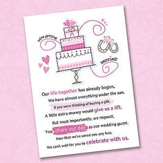 Cash For Wedding Gift Wording : Wedding Poem Cards For Your InvitationsAsk Politely For Money Cash ...