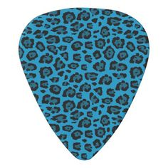 Blue and Black Leopard Print Guitar Pick - chic design idea diy elegant beautiful stylish modern exclusive trendy