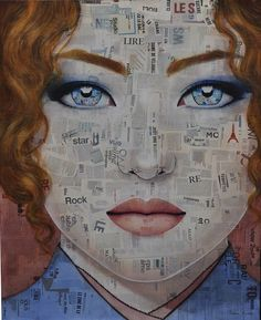 Alice by Canadian artist Pauline Gagnon - Collage and Mixed Media on Canvas 100 x 81 cm - 2012