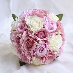 Lilac Purple Rose Bouquet Destination Wedding Bridal Bouquet Boutonniere Corsage