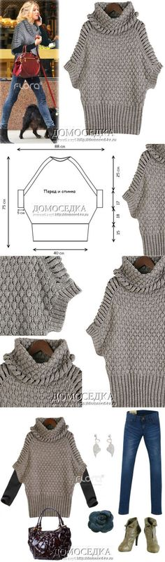 trendy ideas for crochet sweater pattern pullover jumpers Knitting Help, Knitting Stiches, Loom Knitting, Hand Knitting, Knitted Poncho, Crochet Shawl, Knit Crochet, Crochet Clothes, Diy Clothes