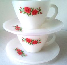 Fire King Milk Glass Cup & Saucer Red Roses Mid by EnduringEchoes, $14.00