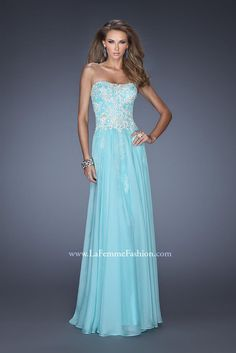 This is a nice feminine style strapless prom dress. Soft, flows, sparkly, and my daughter's favorite color.
