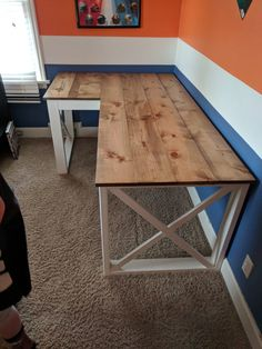 Adjustable Storage Desk Espresso Brown - Room Essentials™ Diy Craft Table diy tables to hold craft items poles Home Office Table, Diy Corner Desk, Diy Crafts Desk, Home Office Desks, Diy Desk Plans, Home Diy, Desk Plans, Wooden Desk, Diy Office Desk